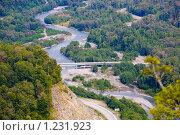 Купить «Долина  р. Мзымта.  Строящийся  для  Олимпиады 2014 мост. Дорога в Красную поляну.», эксклюзивное фото № 1231923, снято 28 сентября 2009 г. (c) Ирина Мойсеева / Фотобанк Лори