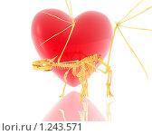 Купить «Скелет  дракона на фоне сердца», иллюстрация № 1243571 (c) Alperium / Фотобанк Лори