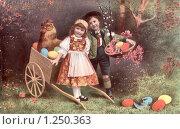 Купить «Пасхальная открытка с детьми. Дореволюционная открытка.», фото № 1250363, снято 17 октября 2018 г. (c) Ольга Батракова / Фотобанк Лори