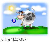 Корова на полянке. Стоковая иллюстрация, иллюстратор Павлова Елена / Фотобанк Лори