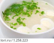 Купить «Куриный бульон с нарезанными яйцами», фото № 1258223, снято 26 ноября 2009 г. (c) Александр Fanfo / Фотобанк Лори