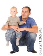 Купить «Отец с сыном», фото № 1265843, снято 30 августа 2008 г. (c) Валентин Мосичев / Фотобанк Лори