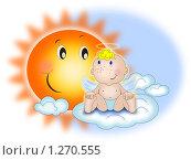"""Купить «Открытка """"ангелочек и солнышко""""», иллюстрация № 1270555 (c) Павлова Елена / Фотобанк Лори"""