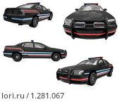 Купить «Черные полицейские автомобили», иллюстрация № 1281067 (c) ИЛ / Фотобанк Лори