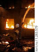 Купить «Пожарные борются с  огнем», фото № 1283579, снято 7 декабря 2009 г. (c) Татьяна Белова / Фотобанк Лори
