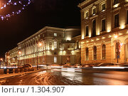 Купить «Дворцовая набережная зимней ночью», фото № 1304907, снято 16 декабря 2009 г. (c) Александр Секретарев / Фотобанк Лори