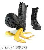 Купить «Мужские рабочие ботинки и кожица банана», фото № 1309375, снято 5 декабря 2009 г. (c) Валерий Александрович / Фотобанк Лори