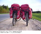 Велорюкзаки на велосипедах. Стоковое фото, фотограф Галина Новикова / Фотобанк Лори