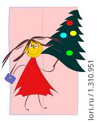 Купить «Веселая девочка с новогодней елкой на розовом фоне», иллюстрация № 1310951 (c) Алексей Лебедев-Реллер / Фотобанк Лори