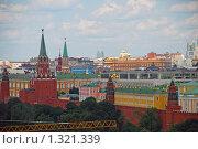 Купить «Вид на Москву с обзорной площадки Храма Христа Спасителя. Панорама», эксклюзивное фото № 1321339, снято 12 июля 2009 г. (c) lana1501 / Фотобанк Лори