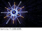 Купить «Неоновый знак атома с расходящимися синими звездочками в ночи», фото № 1330695, снято 19 декабря 2009 г. (c) Александр Куличенко / Фотобанк Лори