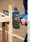 Купить «Рабочий-строитель», фото № 1341211, снято 12 апреля 2009 г. (c) Александр Паррус / Фотобанк Лори