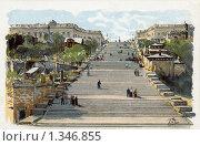 Купить «Потемкинская лестница в Одессе», фото № 1346855, снято 13 октября 2018 г. (c) Юрий Кобзев / Фотобанк Лори