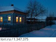 Зимний вечер в деревне. Стоковое фото, фотограф Александр Рыбакин / Фотобанк Лори