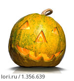 Купить «Тыква на Хеллоуин,  изолированно на белом», фото № 1356639, снято 19 октября 2009 г. (c) Ярослав Данильченко / Фотобанк Лори