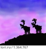 Олени на закате. Стоковая иллюстрация, иллюстратор Оксана Кабрина / Фотобанк Лори