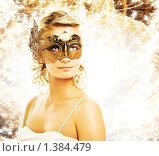 Купить «Блондинка в карнавальной маске», фото № 1384479, снято 25 июня 2019 г. (c) Andrejs Pidjass / Фотобанк Лори