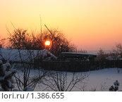 Закат над деревней. Стоковое фото, фотограф Мария Бойченко / Фотобанк Лори