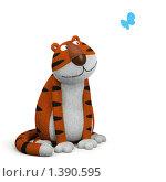 Тигр смотрит на бабочку, иллюстрация № 1390595 (c) Hemul / Фотобанк Лори