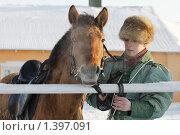 Купить «Участник псовой охоты с лошадью», фото № 1397091, снято 16 января 2010 г. (c) Яременко Екатерина / Фотобанк Лори