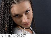 Купить «Девушка с косичками на темном фоне», фото № 1400207, снято 20 сентября 2009 г. (c) Елисей Воврженчик / Фотобанк Лори