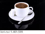 Купить «Чашка горячего шоколада с отражением на черном фоне», фото № 1401599, снято 19 января 2009 г. (c) Vitas / Фотобанк Лори