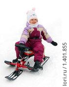 Купить «Девочка на снегокате», фото № 1401855, снято 7 января 2010 г. (c) Никонор Дифотин / Фотобанк Лори