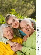 Купить «Бабушка и дедушка с внучкой на открытом воздухе», фото № 1403007, снято 10 мая 2008 г. (c) Andrejs Pidjass / Фотобанк Лори