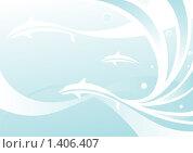Фон с дельфинами. Стоковая иллюстрация, иллюстратор Игорь Бахтин / Фотобанк Лори