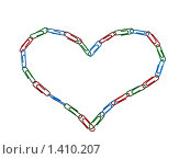 Купить «Сердце из разноцветных скрепок на белом фоне. Изолировано», фото № 1410207, снято 21 января 2010 г. (c) Алексей Рогожа / Фотобанк Лори