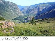 Купить «Вид сверху на реку Чулышман и Челушманскую долину. Горный Алтай», эксклюзивное фото № 1414955, снято 12 июля 2009 г. (c) Яна Королёва / Фотобанк Лори