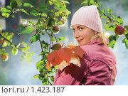 Купить «Портрет молодой девушки с осенними листьями», фото № 1423187, снято 15 сентября 2007 г. (c) Andrejs Pidjass / Фотобанк Лори