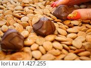 Купить «Миндаль и шоколадные конфеты», фото № 1427255, снято 16 декабря 2009 г. (c) Сергей Ахундов / Фотобанк Лори