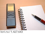 Купить «Блокнот, ручка и диктофон на столе», фото № 1427643, снято 28 января 2010 г. (c) Глазков Владимир / Фотобанк Лори