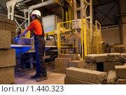 Купить «Рабочий проверяет качество бордюрного камня на заводе», фото № 1440323, снято 30 мая 2009 г. (c) Andrejs Pidjass / Фотобанк Лори