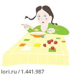 Девочка завтракает. Стоковая иллюстрация, иллюстратор Влада Посадская / Фотобанк Лори
