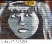 Купить «Лицо девушки в серых тонах. Граффити на кирпиче», фото № 1457359, снято 30 января 2010 г. (c) Денис Кравченко / Фотобанк Лори