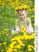 Купить «Девочка с венком из одуванчиков», фото № 1463323, снято 18 мая 2009 г. (c) Юлия Шилова / Фотобанк Лори