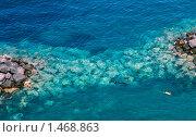 Дайвер-аквалангист в прозрачной воде. Сорренто, Италия (2007 год). Стоковое фото, фотограф Валерий Шевцов / Фотобанк Лори