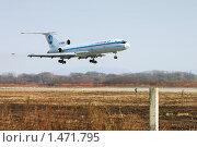 Посадка Ту-154 в аэропорту Владивостока (2006 год). Редакционное фото, фотограф Михаил Марковский / Фотобанк Лори