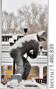 Купить «Памятник металлургу. Новокузнецк», фото № 1480839, снято 14 февраля 2010 г. (c) Лукьянов Иван / Фотобанк Лори
