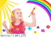 Купить «Девочка рисует», фото № 1481275, снято 13 февраля 2010 г. (c) Майя Крученкова / Фотобанк Лори