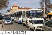 Купить «Пробка на улице Ленина, Уфа», фото № 1485731, снято 25 апреля 2008 г. (c) Art Konovalov / Фотобанк Лори