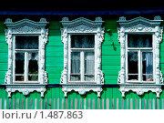 Купить «Старый дом,окна с резьбой», фото № 1487863, снято 22 июля 2006 г. (c) Владимир Фаевцов / Фотобанк Лори