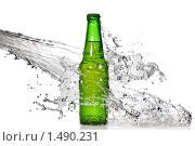 Купить «Бутылка пива в струе воды», фото № 1490231, снято 1 ноября 2009 г. (c) Ярослав Данильченко / Фотобанк Лори