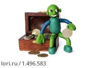 Купить «Пластилиновый человечек с сундуком, полным монет», фото № 1496583, снято 21 февраля 2010 г. (c) Куликова Татьяна / Фотобанк Лори