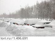 Купить «Заснеженная парковка», фото № 1496691, снято 22 февраля 2010 г. (c) Артем Ефимов / Фотобанк Лори