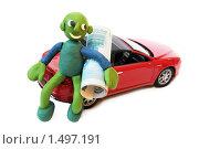 Купить «Пластилиновый человечек с машиной и деньгами», фото № 1497191, снято 21 февраля 2010 г. (c) Куликова Татьяна / Фотобанк Лори