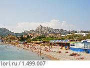 Купить «Пляж в поселке Коктебель. Крым», фото № 1499007, снято 16 сентября 2009 г. (c) Алексей Спирин / Фотобанк Лори