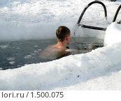 Купить «Погружение в ледяную воду», фото № 1500075, снято 14 февраля 2010 г. (c) Людмила Банникова / Фотобанк Лори